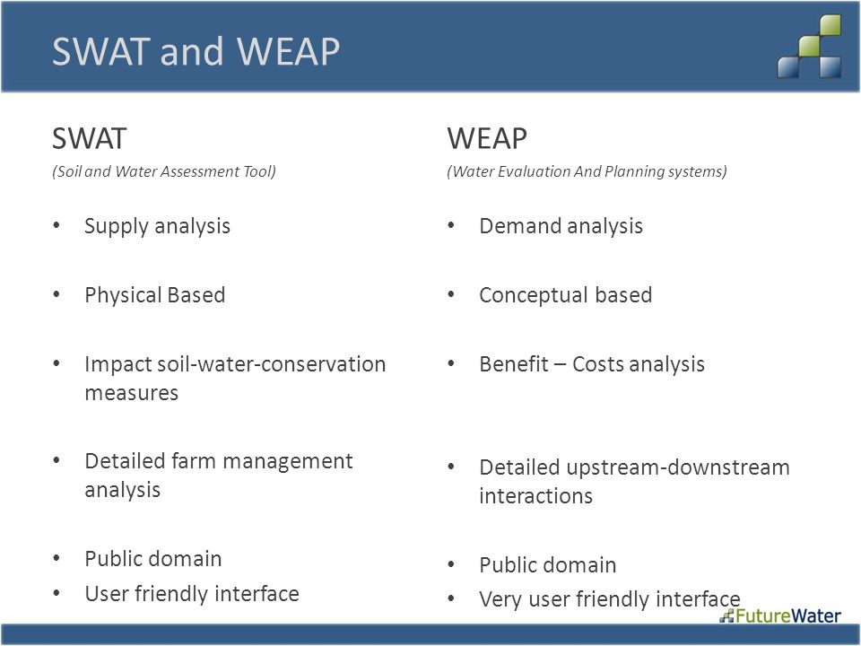 SWAT and WEAP SWAT (Soil and Water Assessment Tool) Supply analysis Physical Based Impact soil-water-conservation measures Detailed farm management analysis Public domain User friendly interface WEAP (Water Evaluation And Planning systems) Demand analysis Conceptual based Benefit – Costs analysis Detailed upstream-downstream interactions Public domain Very user friendly interface