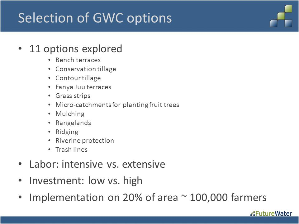 Selection of GWC options 11 options explored Bench terraces Conservation tillage Contour tillage Fanya Juu terraces Grass strips Micro-catchments for planting fruit trees Mulching Rangelands Ridging Riverine protection Trash lines Labor: intensive vs.