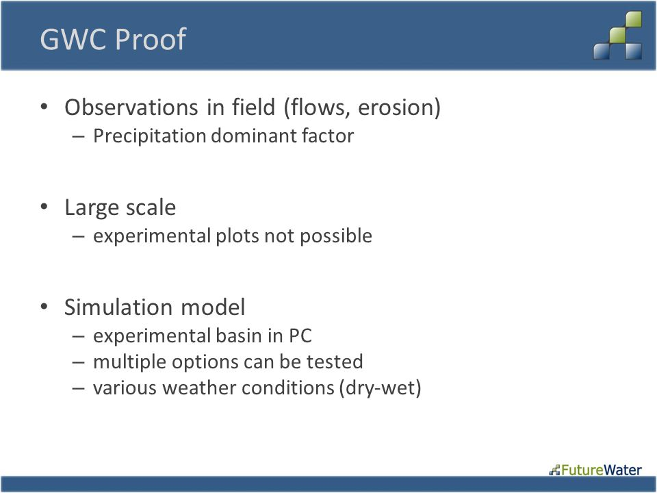 GWC Proof Observations in field (flows, erosion) – Precipitation dominant factor Large scale – experimental plots not possible Simulation model – experimental basin in PC – multiple options can be tested – various weather conditions (dry-wet)