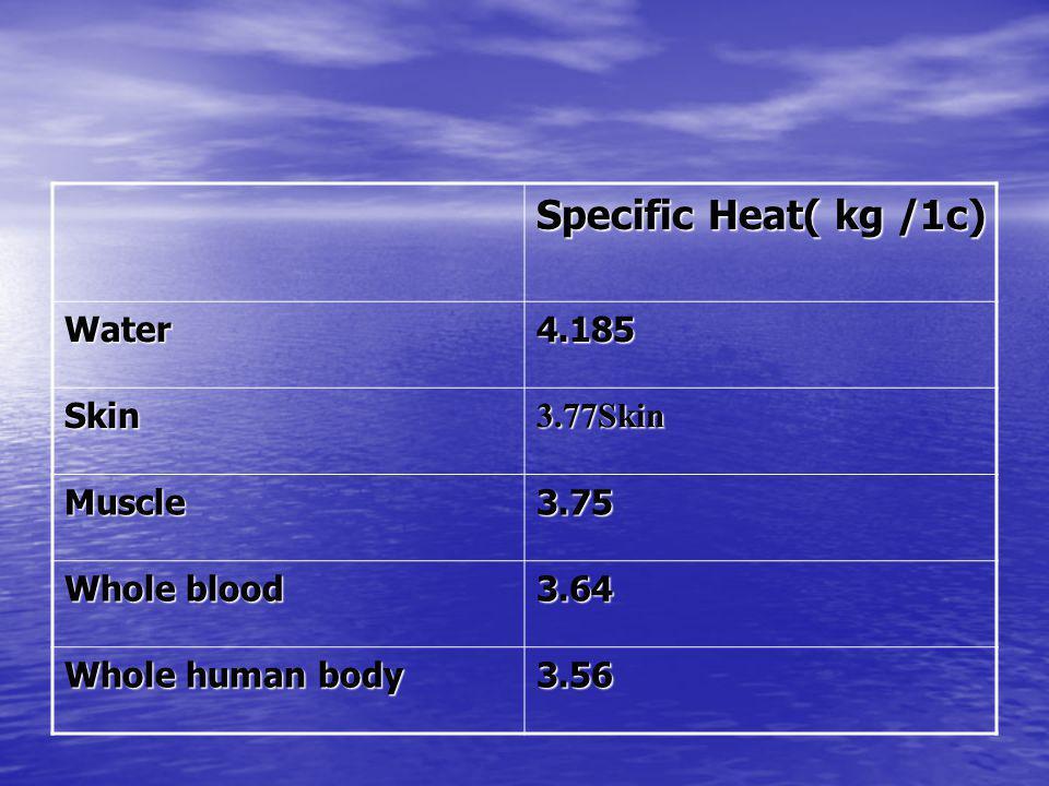 Specific Heat( kg /1c) 4.185Water 3.77SkinSkin 3.75Muscle 3.64 Whole blood 3.56 Whole human body