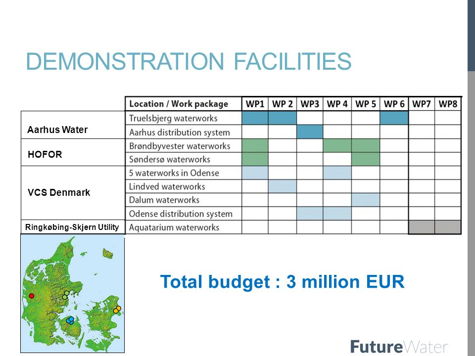 DEMONSTRATION FACILITIES Aarhus Water HOFOR VCS Denmark Ringkøbing-Skjern Utility Total budget : 3 million EUR