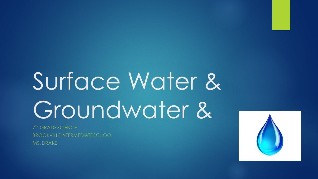 Surface Water & Groundwater & 7 TH GRADE SCIENCE BROOKVILLE INTERMEDIATE SCHOOL MS. DRAKE