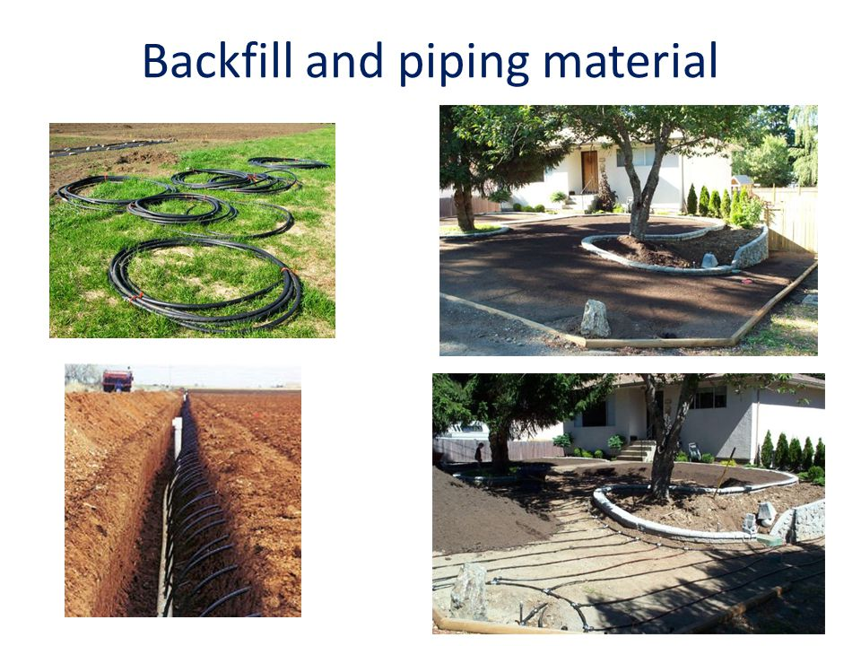 Backfill and piping material