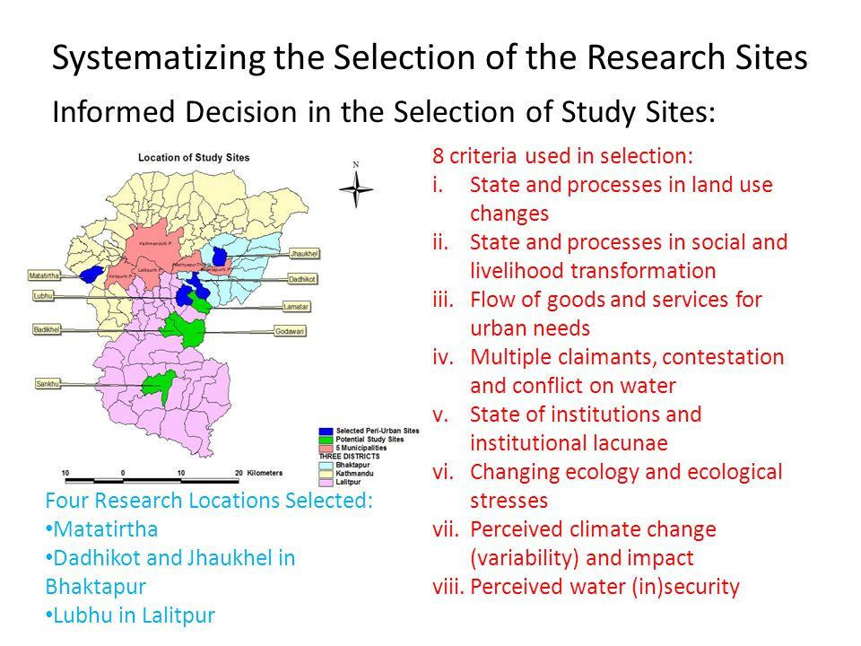 Systematizing the Selection of the Research Sites Informed Decision in the Selection of Study Sites: 8 criteria used in selection: i.State and processes in land use changes ii.State and processes in social and livelihood transformation iii.Flow of goods and services for urban needs iv.Multiple claimants, contestation and conflict on water v.State of institutions and institutional lacunae vi.Changing ecology and ecological stresses vii.Perceived climate change (variability) and impact viii.Perceived water (in)security Four Research Locations Selected: Matatirtha Dadhikot and Jhaukhel in Bhaktapur Lubhu in Lalitpur