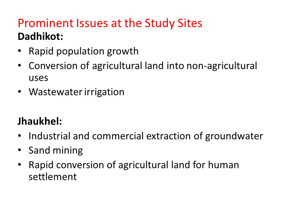 Prominent Issues at the Study Sites Dadhikot: Rapid population growth Conversion of agricultural land into non-agricultural uses Wastewater irrigation