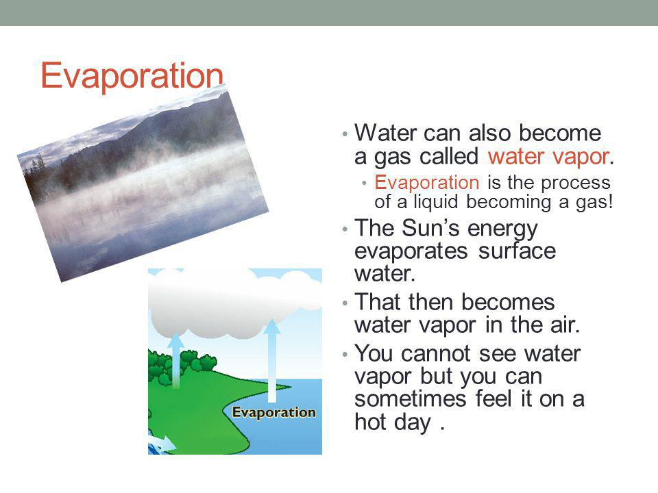 Evaporation Water can also become a gas called water vapor. Evaporation is the process of a liquid becoming a gas! The Suns energy evaporates surface