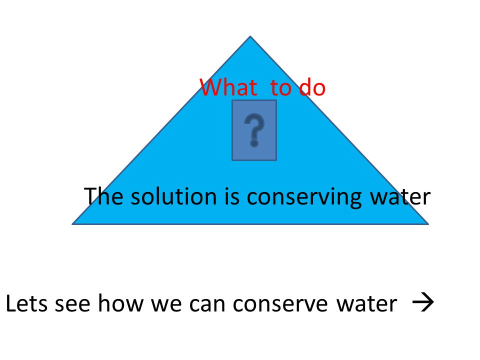What to do The solution is conserving water Lets see how we can conserve water