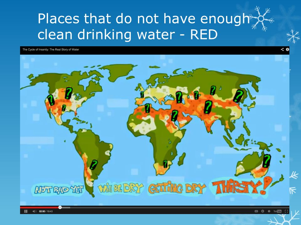 Places that do not have enough clean drinking water - RED