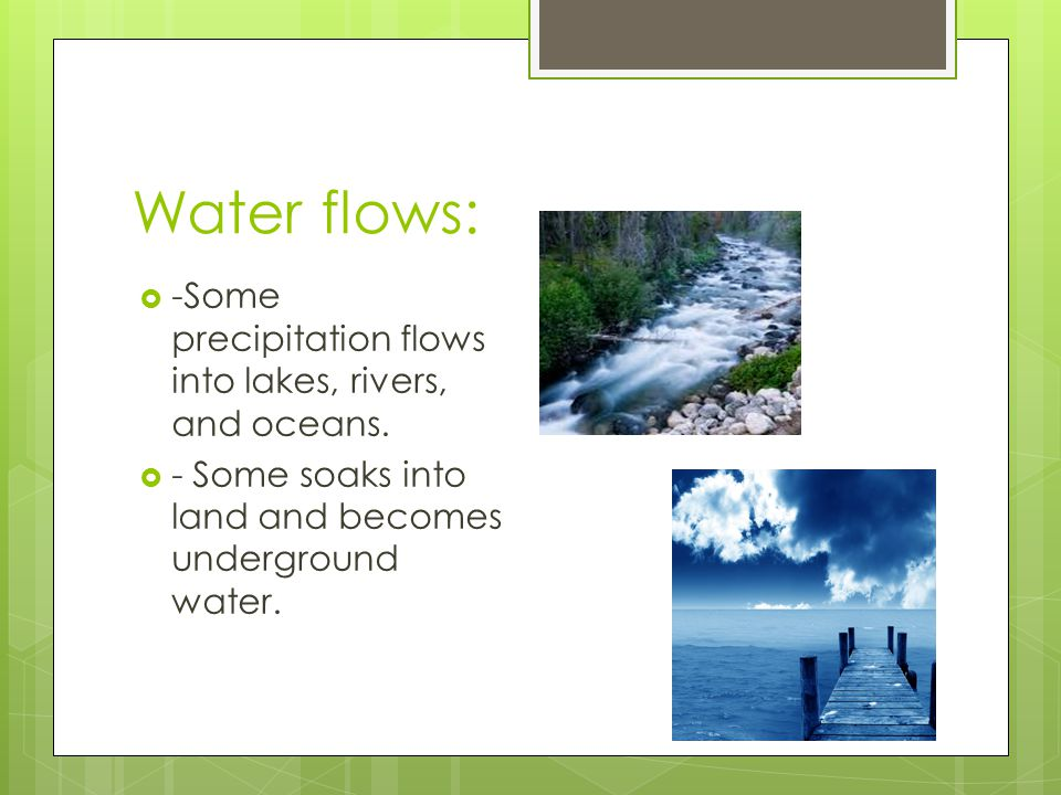 Water flows: -Some precipitation flows into lakes, rivers, and oceans. - Some soaks into land and becomes underground water.