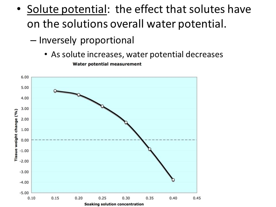 Solute potential: the effect that solutes have on the solutions overall water potential.