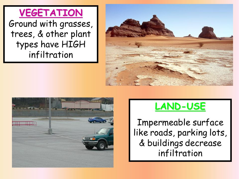 CAPILLARITY -Ability of water to RISE in small openings -SMALLER the particle size, the GREATER the capillarity - Capillarity = Infiltration