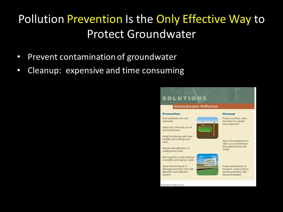 Pollution Prevention Is the Only Effective Way to Protect Groundwater Prevent contamination of groundwater Cleanup: expensive and time consuming