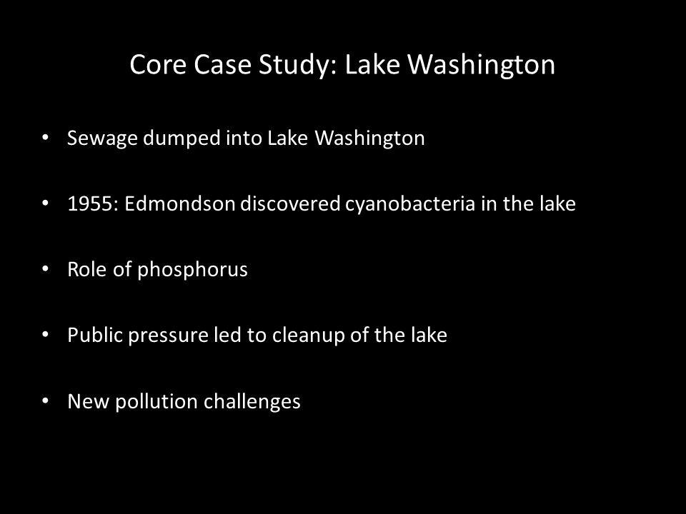 Core Case Study: Lake Washington Sewage dumped into Lake Washington 1955: Edmondson discovered cyanobacteria in the lake Role of phosphorus Public pressure led to cleanup of the lake New pollution challenges