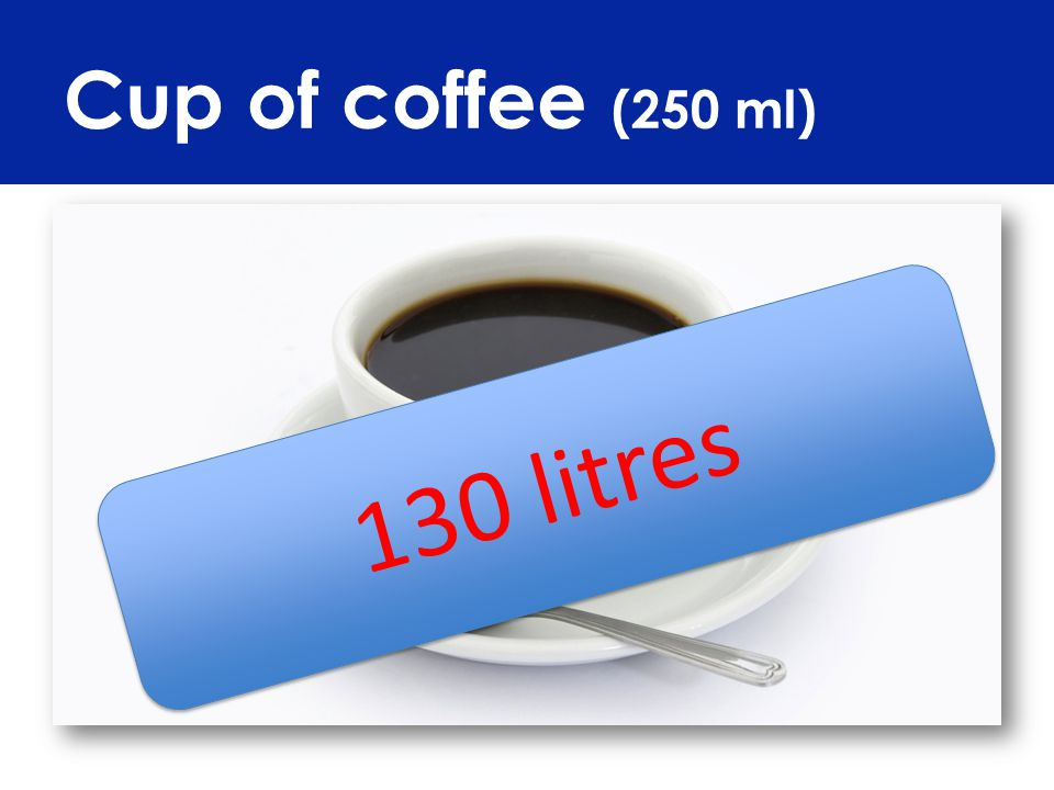 Cup of coffee (250 ml) 130 litres
