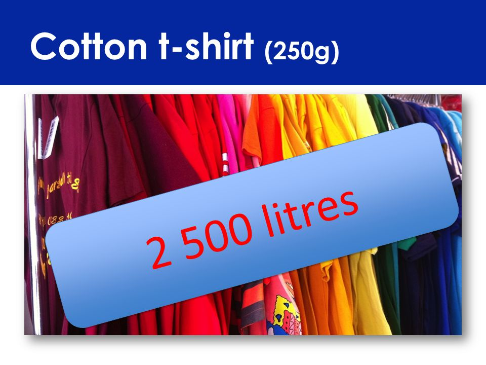 Cotton t-shirt (250g) 2 500 litres