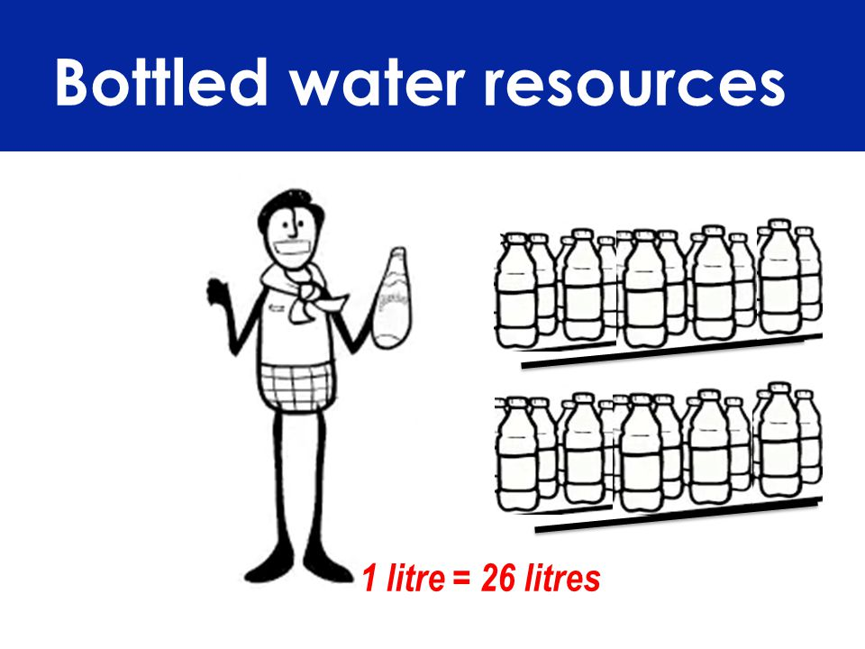 Bottled water resources 1 litre = 26 litres
