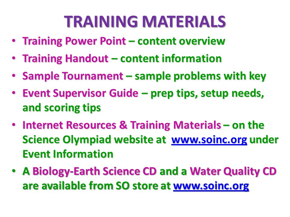 TRAINING MATERIALS Training Power Point – content overview Training Power Point – content overview Training Handout – content information Training Han