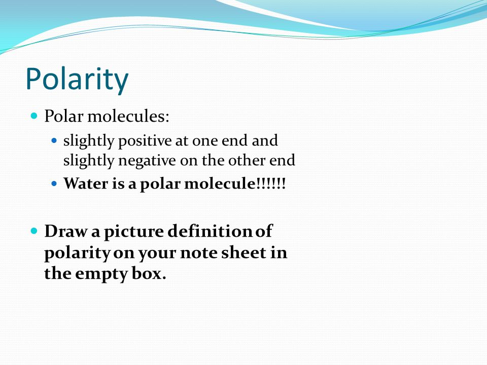 Polarity Polar molecules: slightly positive at one end and slightly negative on the other end Water is a polar molecule!!!!!.