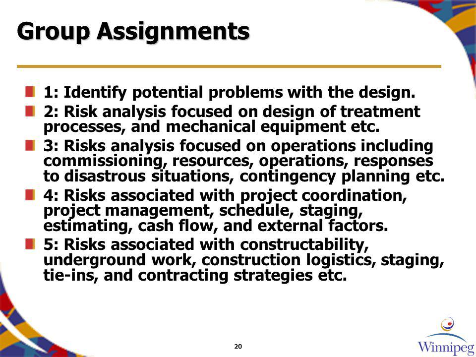20 Group Assignments 1: Identify potential problems with the design.
