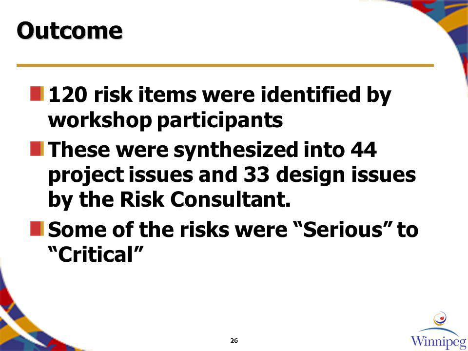 26 Outcome 120 risk items were identified by workshop participants These were synthesized into 44 project issues and 33 design issues by the Risk Consultant.