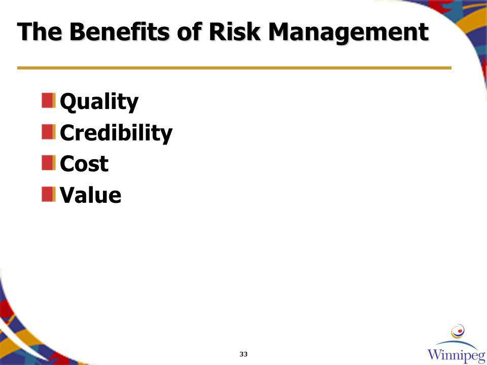 33 The Benefits of Risk Management Quality Credibility Cost Value