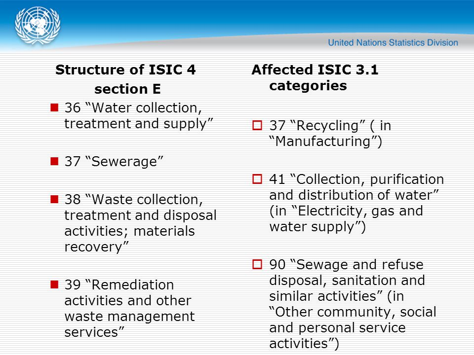 Affected ISIC 3.1 categories 37 Recycling ( in Manufacturing) 41 Collection, purification and distribution of water (in Electricity, gas and water sup