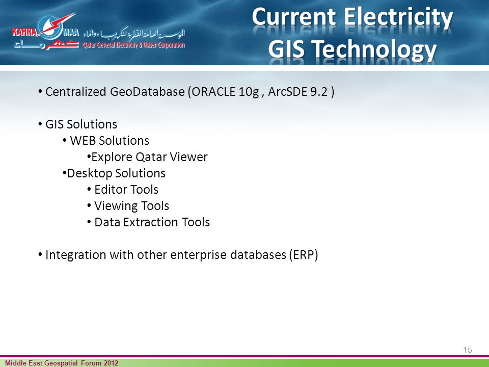 15 Middle East Geospatial Forum 2012 Centralized GeoDatabase (ORACLE 10g, ArcSDE 9.2 ) GIS Solutions WEB Solutions Explore Qatar Viewer Desktop Solutions Editor Tools Viewing Tools Data Extraction Tools Integration with other enterprise databases (ERP)