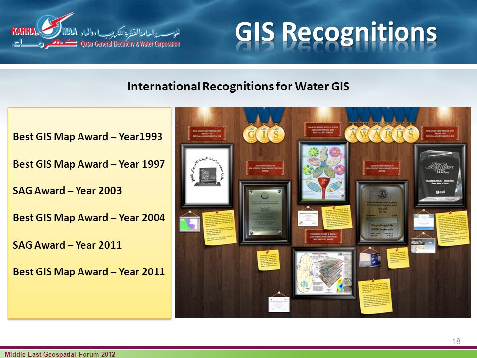 18 Middle East Geospatial Forum 2012 International Recognitions for Water GIS Best GIS Map Award – Year1993 Best GIS Map Award – Year 1997 SAG Award – Year 2003 Best GIS Map Award – Year 2004 SAG Award – Year 2011 Best GIS Map Award – Year 2011