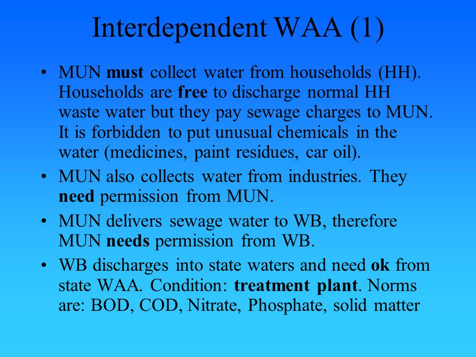 Inspection At each WAA level inspection officers check whether water disposers fulfill their obligations If not, WAA can impose administrative sanctions (e.g.