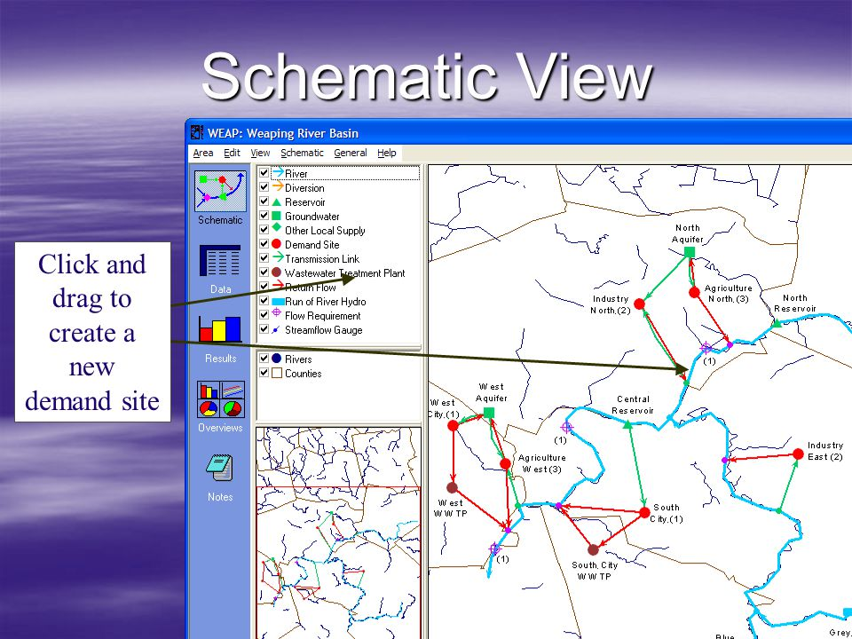 Schematic View Click and drag to create a new demand site