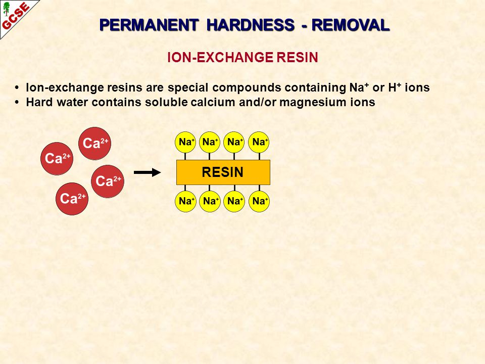 PERMANENT HARDNESS - REMOVAL ION-EXCHANGE RESIN Ion-exchange resins are special compounds containing Na + or H + ions Hard water contains soluble calc