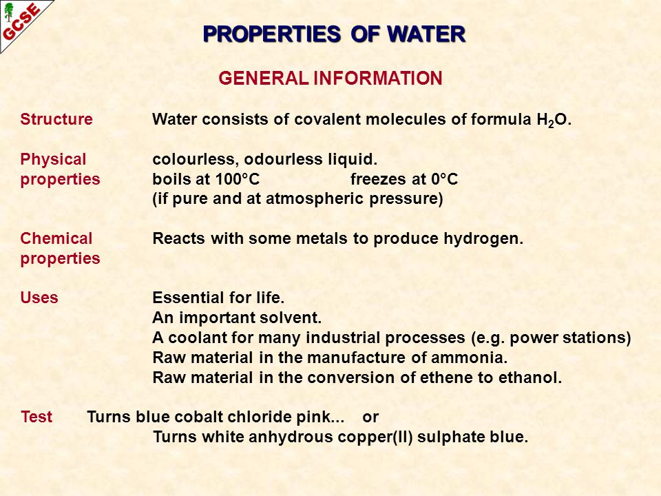 WATER PURIFICATION Water of the correct quality is essential for life.
