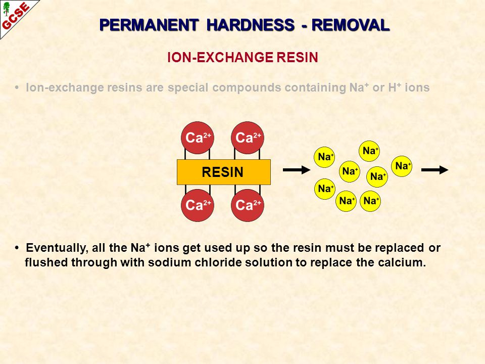 PERMANENT HARDNESS - REMOVAL ION-EXCHANGE RESIN Ion-exchange resins are special compounds containing Na + or H + ions Eventually, all the Na + ions ge