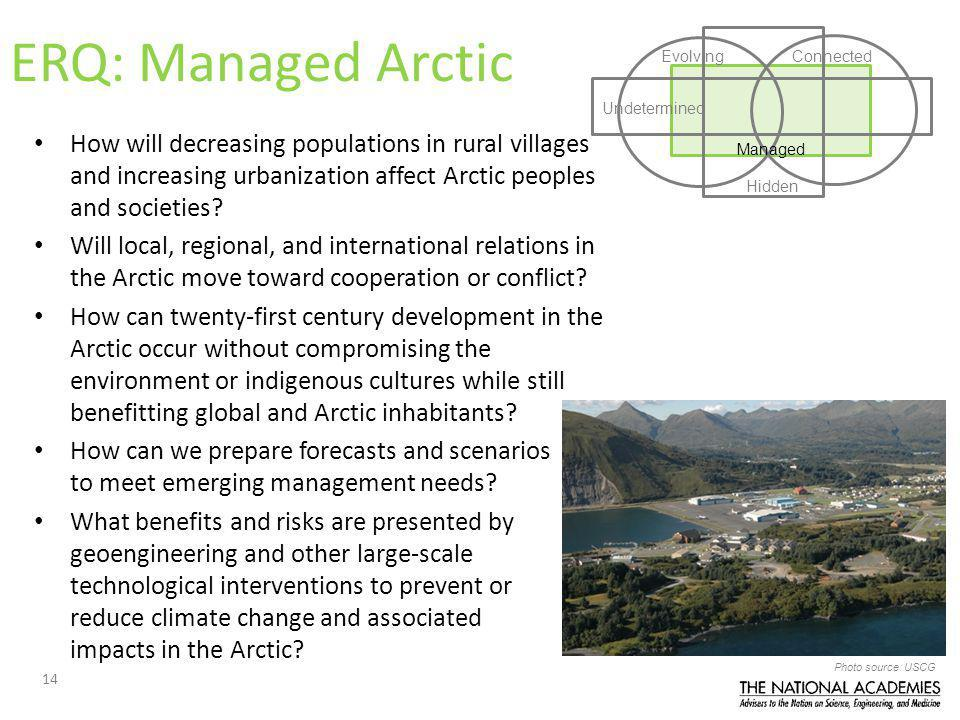 14 Managed EvolvingConnected Undetermined Hidden ERQ: Managed Arctic How will decreasing populations in rural villages and increasing urbanization affect Arctic peoples and societies.
