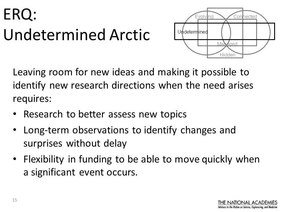 15 Leaving room for new ideas and making it possible to identify new research directions when the need arises requires: Research to better assess new topics Long-term observations to identify changes and surprises without delay Flexibility in funding to be able to move quickly when a significant event occurs.
