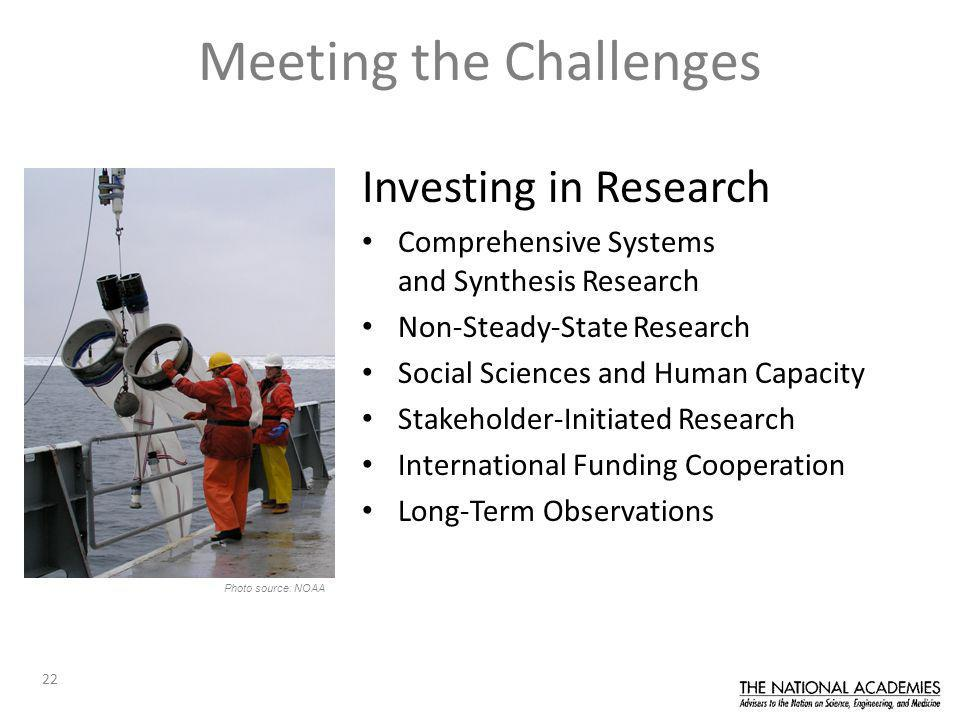 22 Meeting the Challenges Investing in Research Comprehensive Systems and Synthesis Research Non-Steady-State Research Social Sciences and Human Capacity Stakeholder-Initiated Research International Funding Cooperation Long-Term Observations Photo source: NOAA