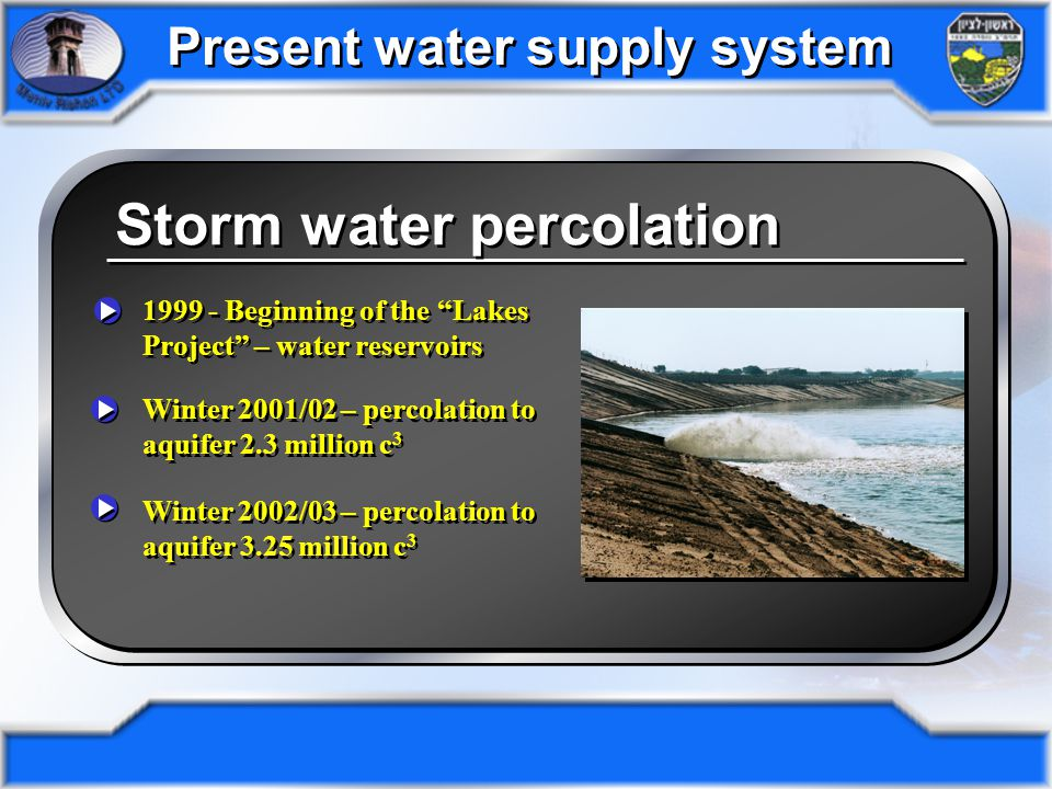 Storm water percolation Drainage pipes & conduits: 225km Storm water pumping stations: 1 2001 annual storm water percolation to aquifer: 2,300,000 c 3 Concrete conduits: 10