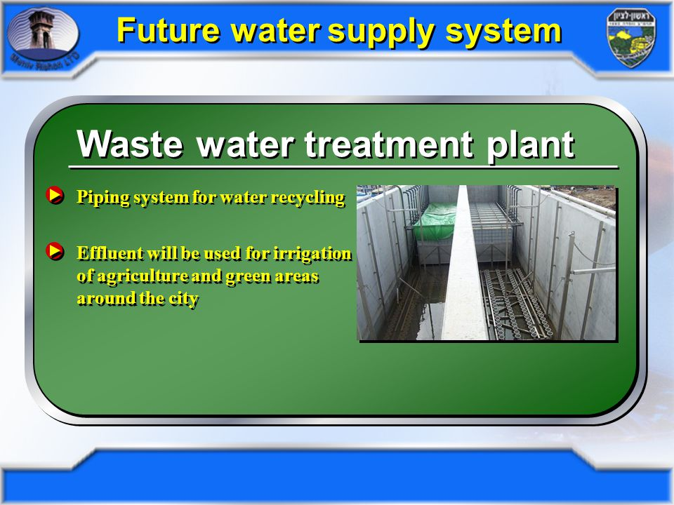 Waste water treatment plant Location: North-East in city limits Effluent quality: tertiary for unlimited irrigation BOD -<5 TSS -<5 N -<5 NTU -<1 Effluent quality: tertiary for unlimited irrigation BOD -<5 TSS -<5 N -<5 NTU -<1 Full daily capacity: 30,000c 3 Annual capacity: 9million c 3 Full daily capacity: 30,000c 3 Annual capacity: 9million c 3 Future water supply system