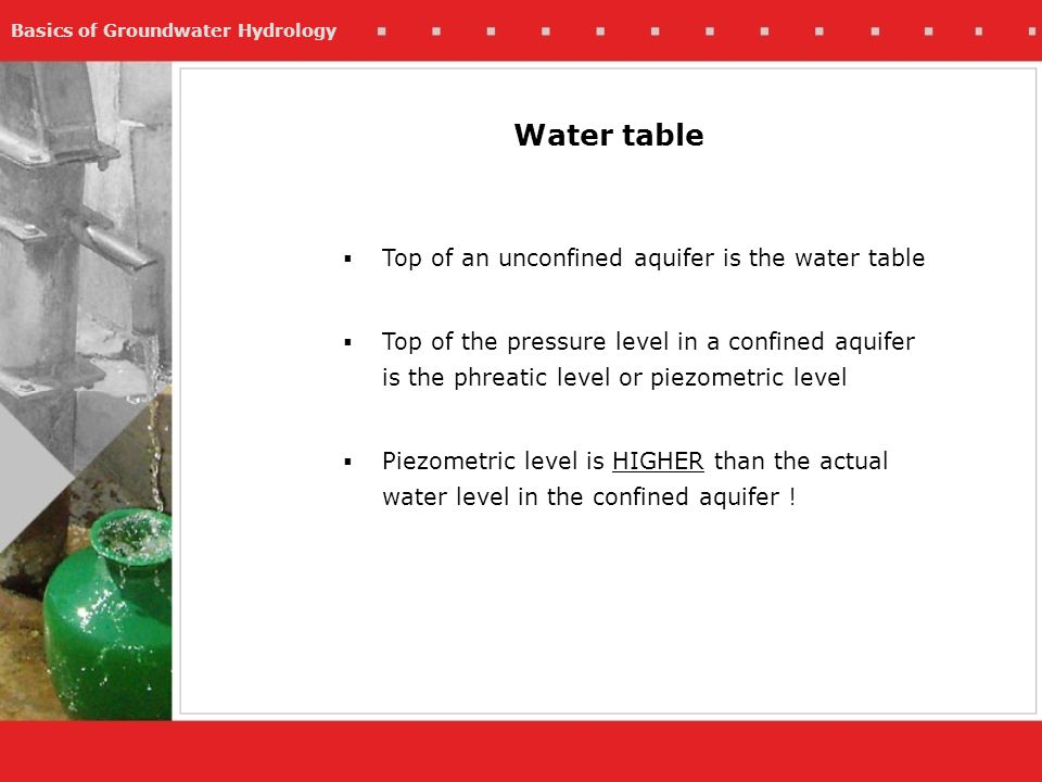 Basics of Groundwater Hydrology Water table Top of an unconfined aquifer is the water table Top of the pressure level in a confined aquifer is the phr