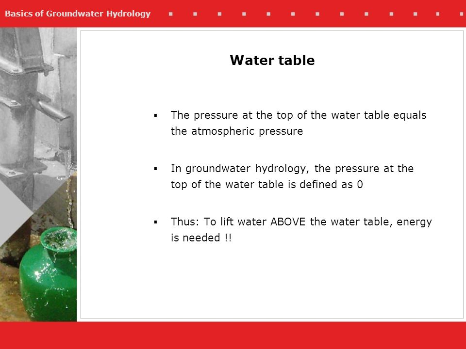 Basics of Groundwater Hydrology The pressure at the top of the water table equals the atmospheric pressure In groundwater hydrology, the pressure at t