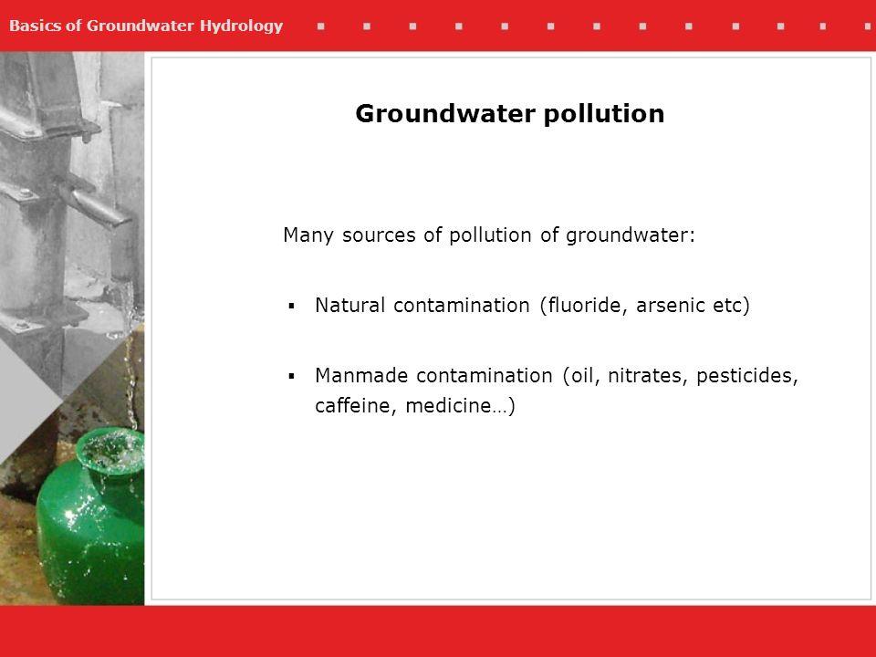 Basics of Groundwater Hydrology Groundwater pollution Many sources of pollution of groundwater: Natural contamination (fluoride, arsenic etc) Manmade
