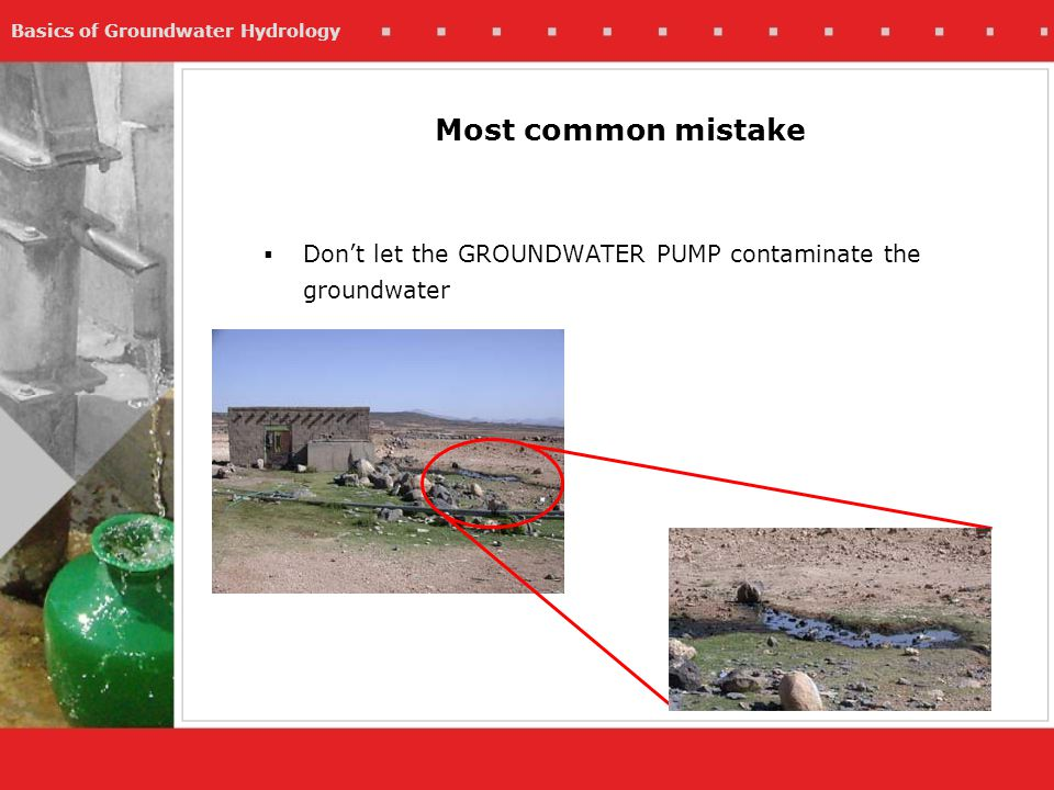 Basics of Groundwater Hydrology Dont let the GROUNDWATER PUMP contaminate the groundwater Most common mistake