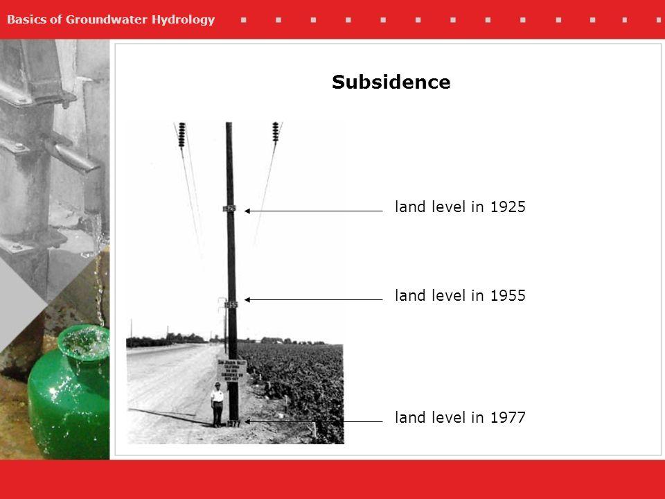 Basics of Groundwater Hydrology Subsidence land level in 1925 land level in 1955 land level in 1977