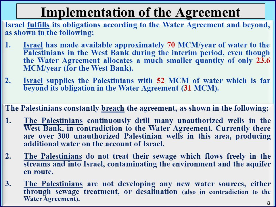 Implementation of the Agreement Israel fulfills its obligations according to the Water Agreement and beyond, as shown in the following: 1.Israel has m