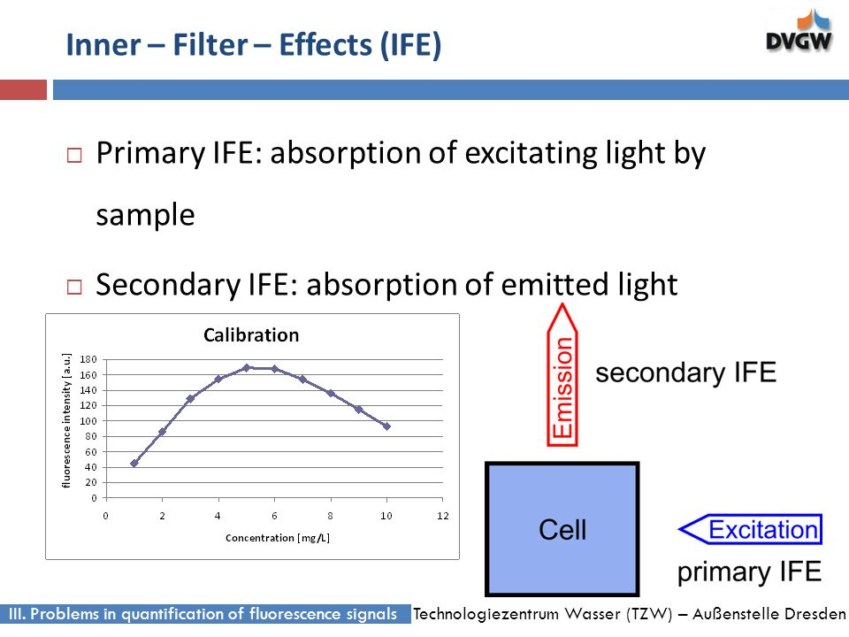 Technologiezentrum Wasser (TZW) – Außenstelle Dresden Inner – Filter – Effects (IFE) Primary IFE: absorption of excitating light by sample Secondary IFE: absorption of emitted light III.