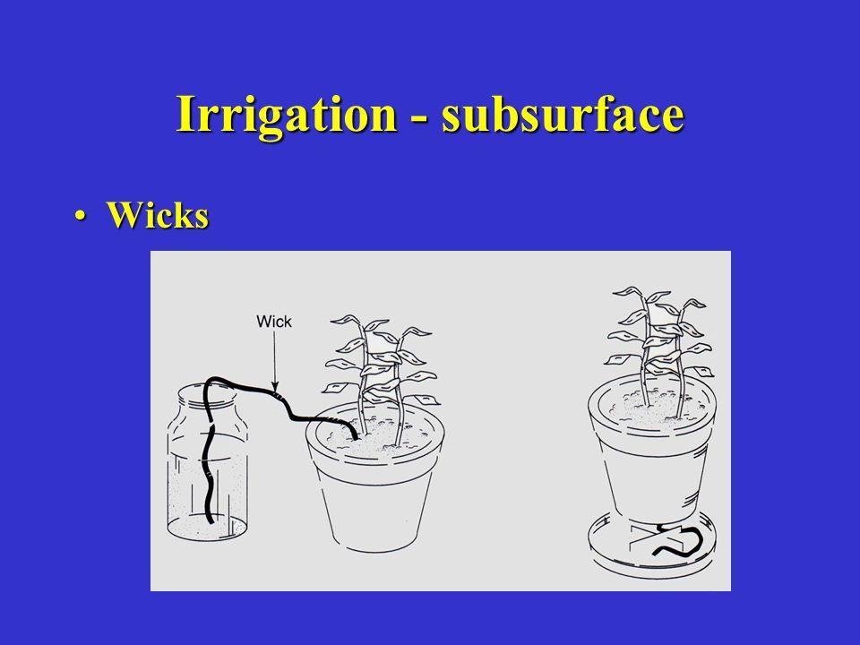 Irrigation - subsurface WicksWicks