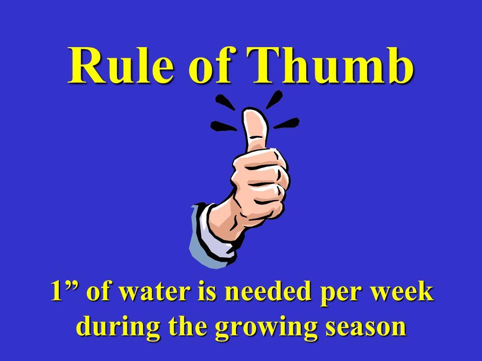 Rule of Thumb 1 of water is needed per week during the growing season
