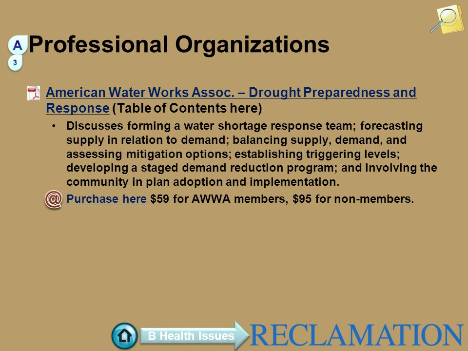 Professional Organizations American Water Works Assoc.