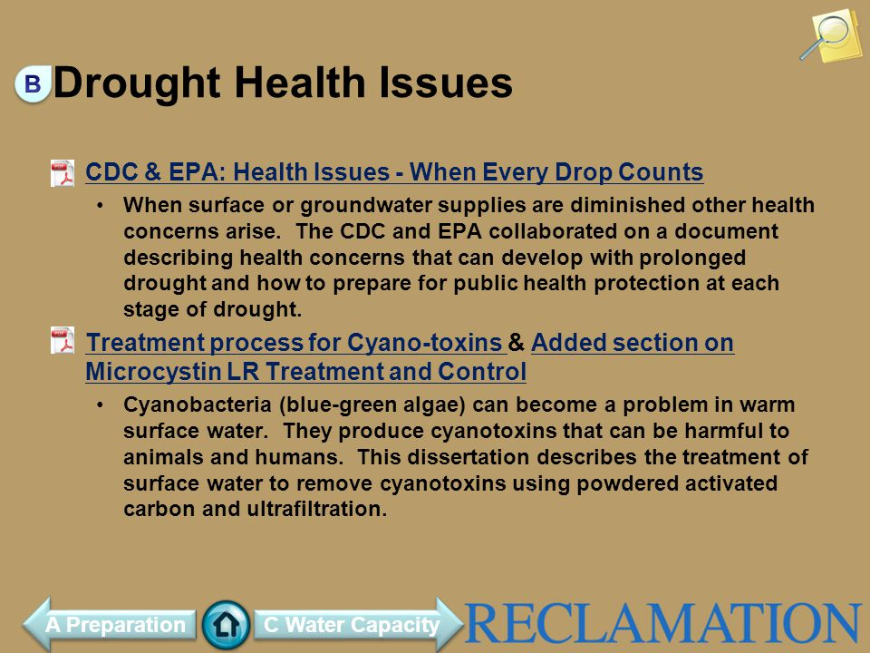 Drought Health Issues CDC & EPA: Health Issues - When Every Drop Counts When surface or groundwater supplies are diminished other health concerns arise.
