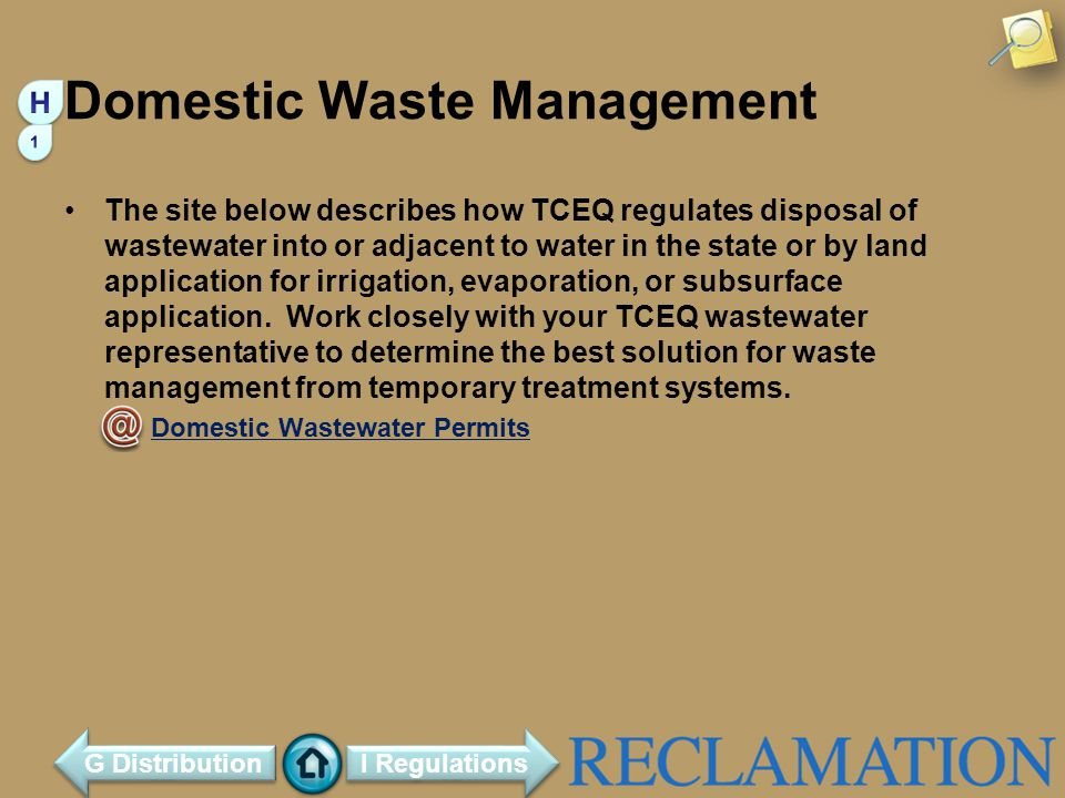 Domestic Waste Management The site below describes how TCEQ regulates disposal of wastewater into or adjacent to water in the state or by land application for irrigation, evaporation, or subsurface application.